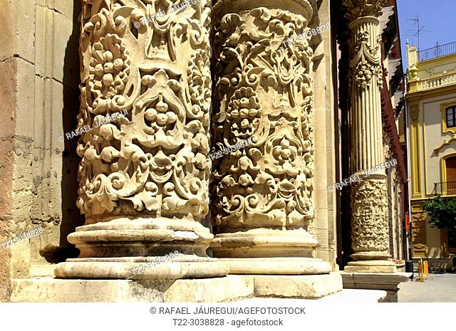 Sevilla (Spain). Architectural detail of the exterior columns of the Archdiocese of Seville in the historic center of the city