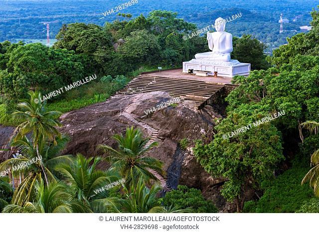 Giant Seated Buddha at Mihintale Monastery, Anuradhapura District, North Central Province, Sri Lanka, Asia