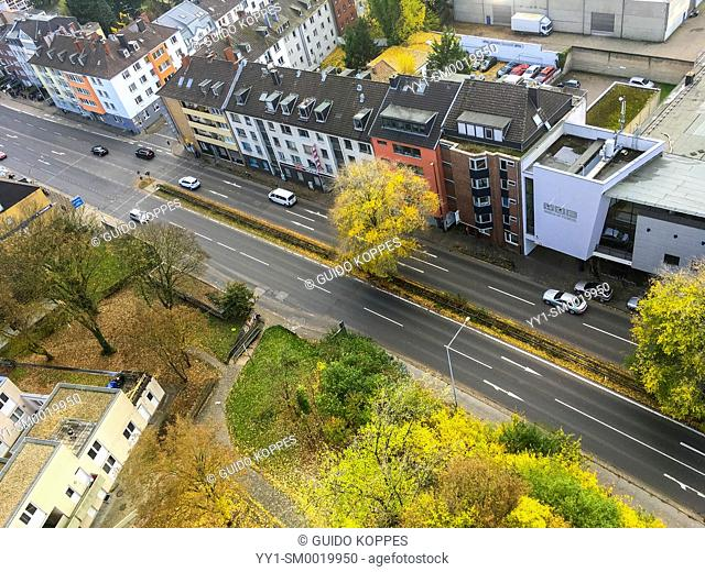 Aachen, Germany. View on a neighbourhood with road and traffic from a dormitory's building 16th floor