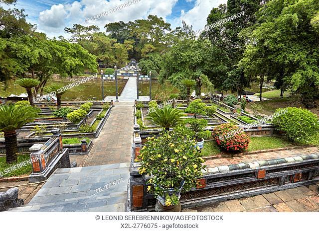 Landscaped garden at the Tan Nguyet Lake. Tomb of Minh Mang (Hieu Tomb), Hue, Vietnam