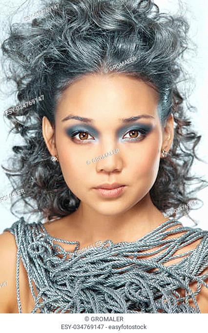 Beautiful Asian Girl's Face.Creative Winter Makeup