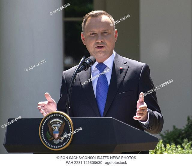 President Andrzej Duda of the Republic of Poland, makes remarks as he and United States President Donald J. Trump conduct a joint press conference in the Rose...