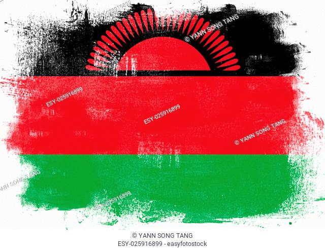 Flag of Malawi painted with brush on solid background