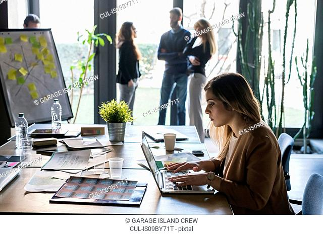 Businesswoman using laptop in office, colleagues in background
