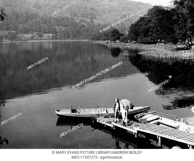 Boats on the water at Grasmere, Lake District, Cumbria