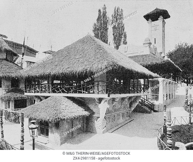 Dahomey Pavilion, Village house, Universal Exhibition 1900 in Paris, Picture from the French weekly newspaper l'Illustration, 18th August 1900