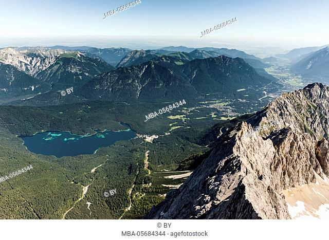 View to Lake Eibsee from the Zugspitze (mountain)