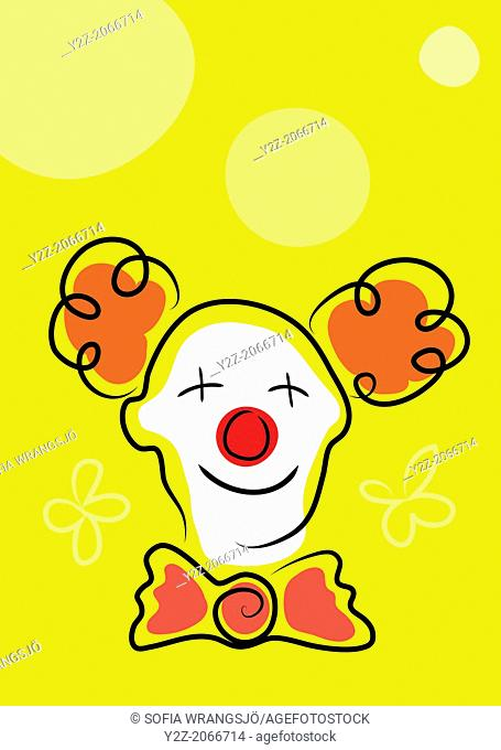 Happy clown with white face mask and red nose on yellow background