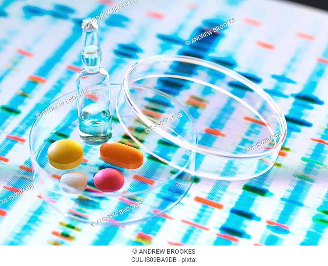Pharmaceutical research developing genetic medicine, illustrating how medicine will be designed to cure individuals health by analysing DNA