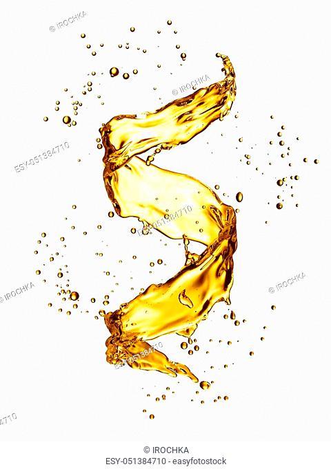Water splash in the form of spiral gold color. 3D illustration