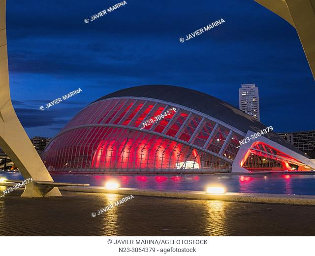 Christmas illumination at the Hemisferic in the city of arts and sciences, Valencia, Spain