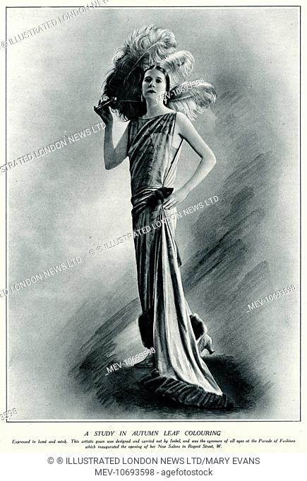 Designed by Isobel. 1920s sleeveless flapper gown expressed in lame, mink fur trimmed hem and a train attached to side. Holding three white ostrich feathers
