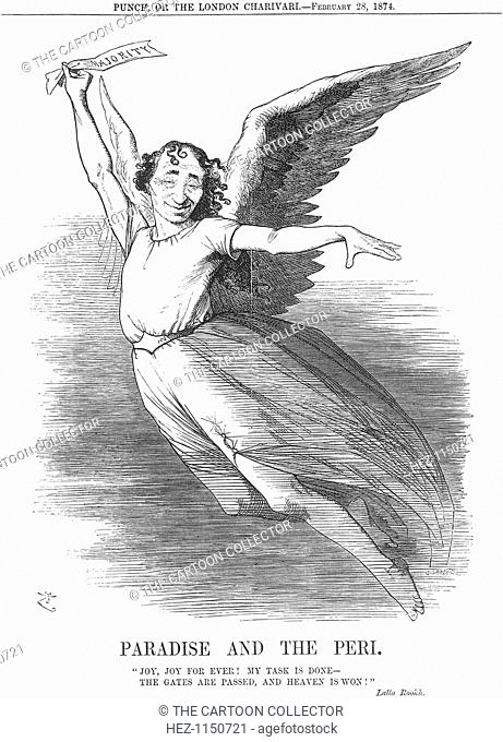 'Paradise and the Peri', 1874. Mr Disraeli is taken by the wings of happiness. The General Election of the 5th March 1874 had seen the Conservatives