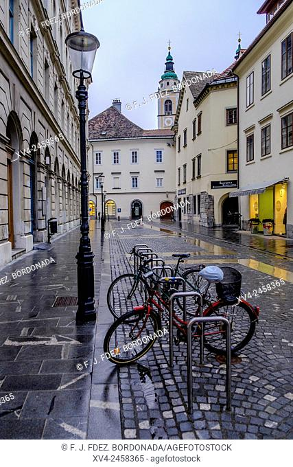 Ljubljana old town with bicycle parking, Slovenia, Europe