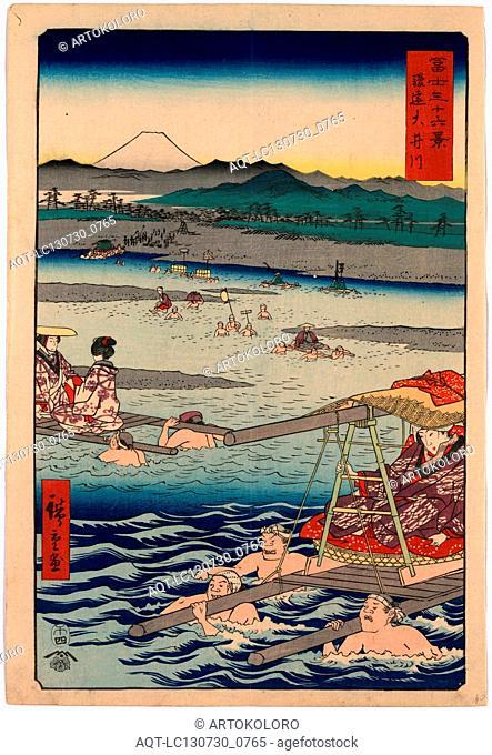 Shunen ouigawa, Oi River in Shun'en., Ando, Hiroshige, 1797-1858, artist, 1858., 1 print : woodcut, color ; 36 x 24.6 cm