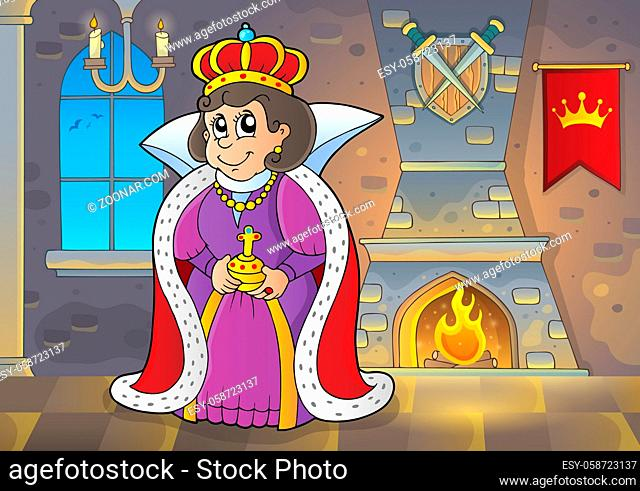 Happy queen in castle theme 1 - picture illustration