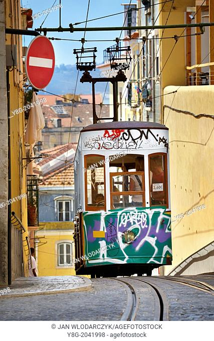 "Lisbon Tram, """"Elevador da Bica"""" Portugal"