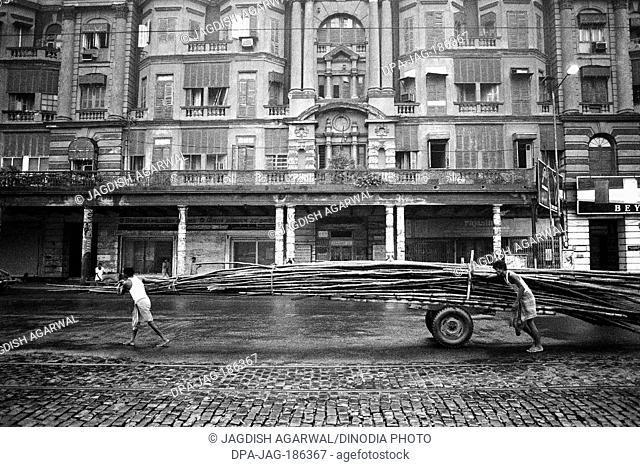 Bamboo vendor handcart Calcutta Kolkata West Bengal India Asia 1989