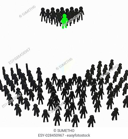 Group of people dream team business and leader on white background, 3d people concept
