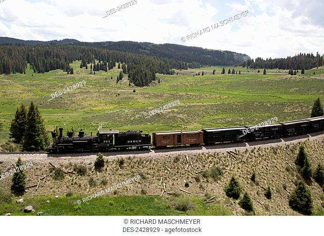 Cumbres and Toltec Scenic Railroad with steam powered locomotive; New Mexico