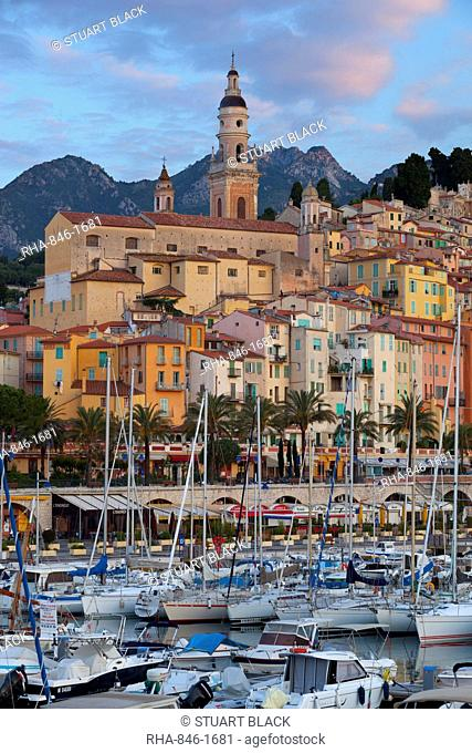 View over old town and port, Menton, Provence-Alpes-Cote d'Azur, French Riviera, Provence, France, Mediterranean, Europe