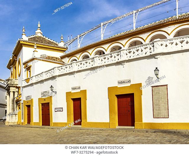 Seville, Spain - Dec 2018: Box offices of Plaza de Toros de Sevilla