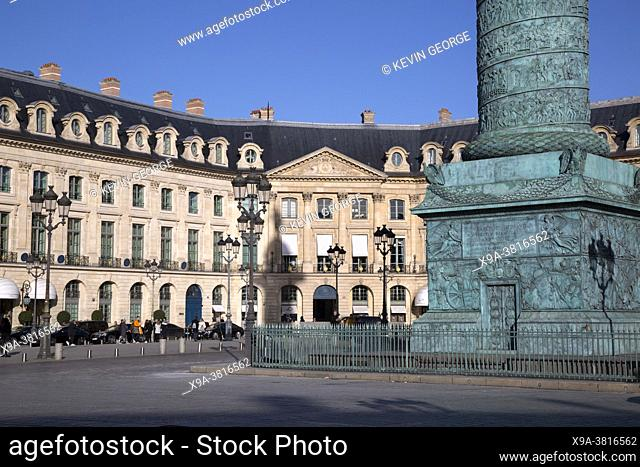 Hotel Ritz with Napoleon Monument; Place Vendome Square; Paris; France
