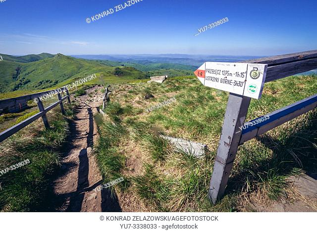 Signpost on Halicz peak in the Bieszczady Mountains in southern Poland