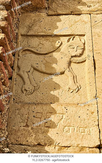 Close up picture & image of bas reliefs of the main entrance to David Gareja Georgian Orthodox monastery, Mount Gareja, Kakheti Region, Georgia (country)