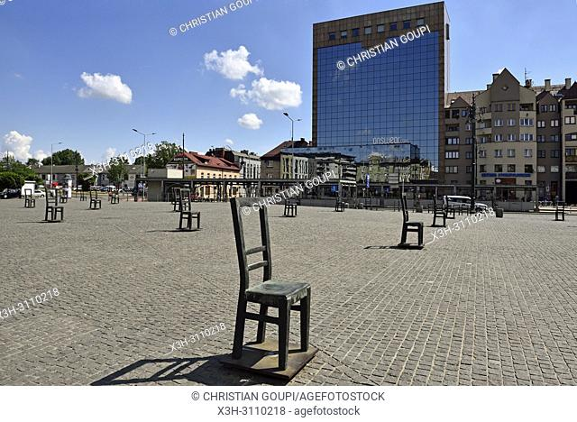 sculptures of chairs in memory of around a thousand people of the Jewish community shot dead by the Nazis during March 1943 on Bohaterow Getta Square