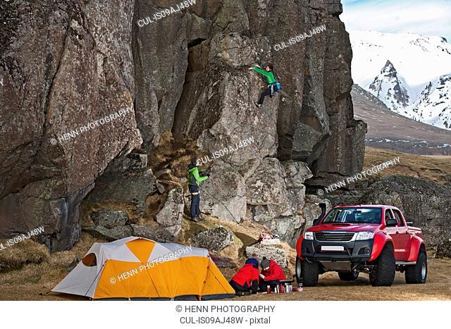 Female climber on a sports climb, Hnappavellir, South East, Iceland