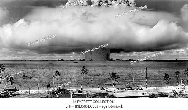 The BAKER test of Operation Crossroads, July 25, 1946. Seconds after the water column rose, and formed a condensation cloud, it fell back