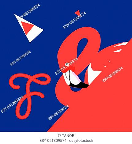 Vector poster of a red flamingo on a blue background