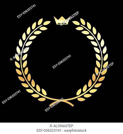 Gold laurel wreath, with crown. Golden leaf emblem. Vintage design, isolated on black background. Decoration for insignia, banner award