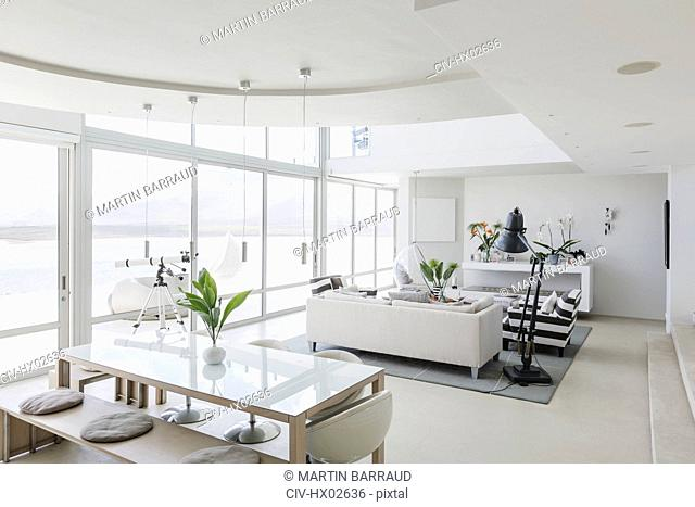 Modern luxury home showcase interior living room and dining room open plan