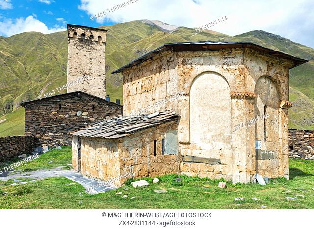 Lamaria church, Ushguli village, Svaneti region, Georgia, Caucasus, Middle East, Asia, Unesco World Heritage Site