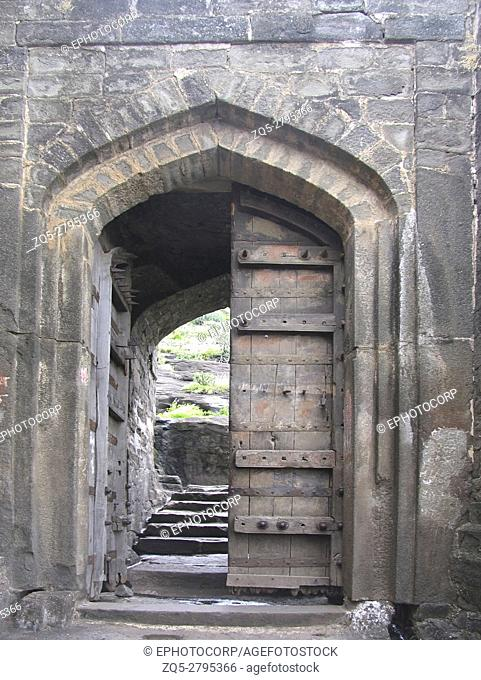 Fort Entrance. Shivneri Fort, 17th-century military fortification, near Junnar, Pune district, Maharashtra, India. It is the birthplace of Chhatrapati Shivaji...