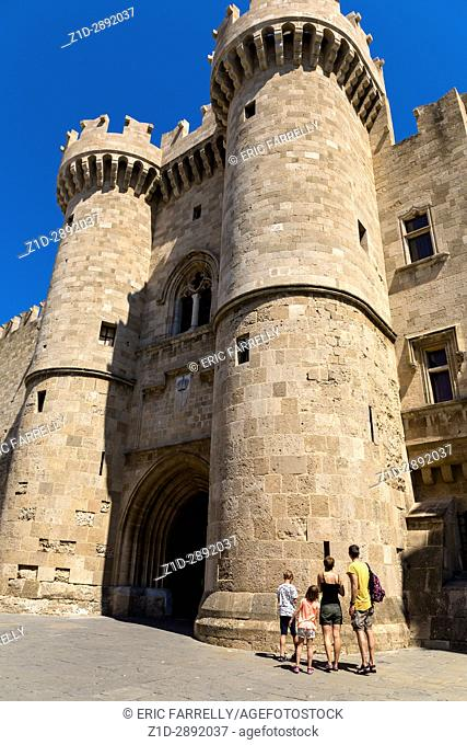 The Palace of the Grand Master of the Knights. Medieval castle in the old city of Rhodes, Greece