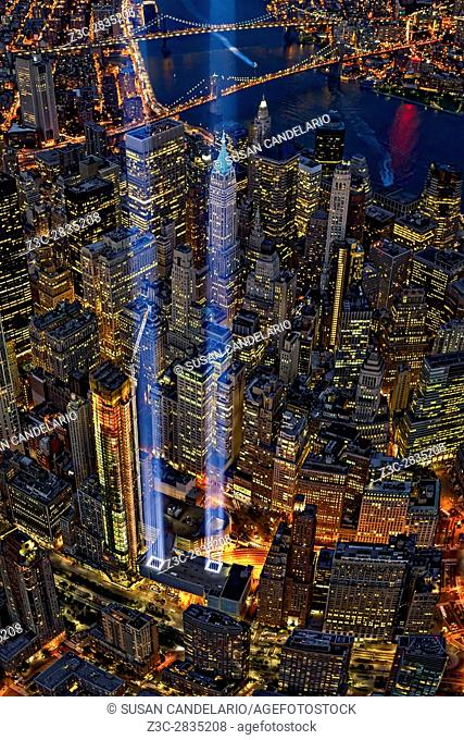 World Trade Center (WTC) Tribute In Light Memorial II - The New York City (NYC) Tribute In Light Memorial during the 15th Anniversary of the terror attacks of...