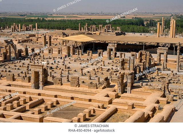 Overview of Persepolis from Tomb of Artaxerxes III, Palace of 100