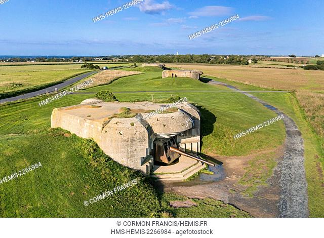 France, Calvados, Longues sur Mer, the gun batterie of the Atlantic Wall, naval guns of 150 mm long-range (aerial view)