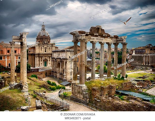 Ruins of the Roman Forum and thunderclouds