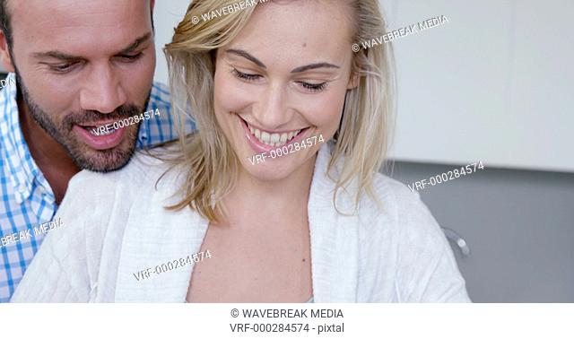 Close-up of smiling couple