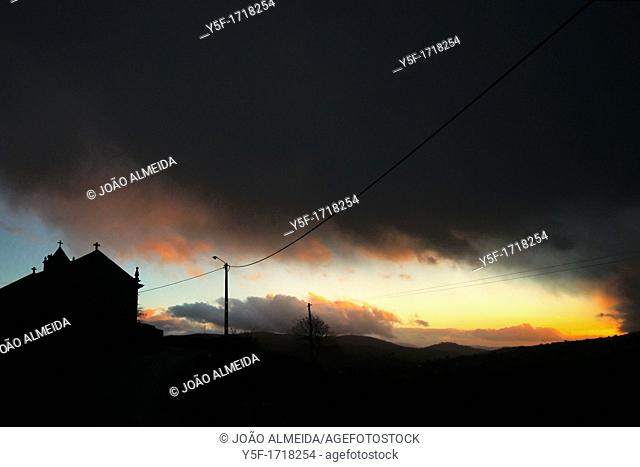 Silhouette of a church Trás-Os-Montes region in northern portugal at dusk