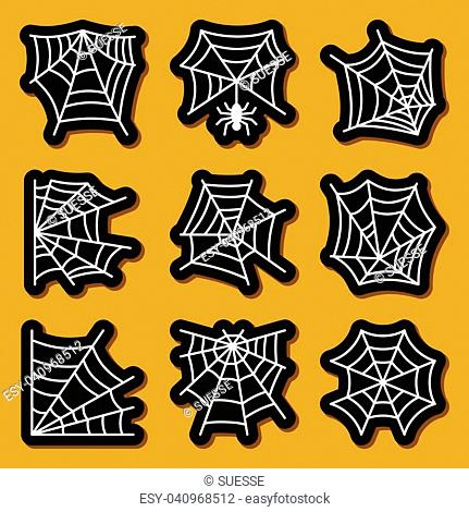 Spider web icon sticker set. Cobweb white on black badges Spiderweb print, poster, label isolated element collection Patchwork
