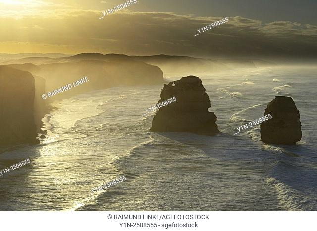 Limestone Stacks in the Morning, The Twelve Apostles, Princetown, Great Ocean Road, Victoria, Australia