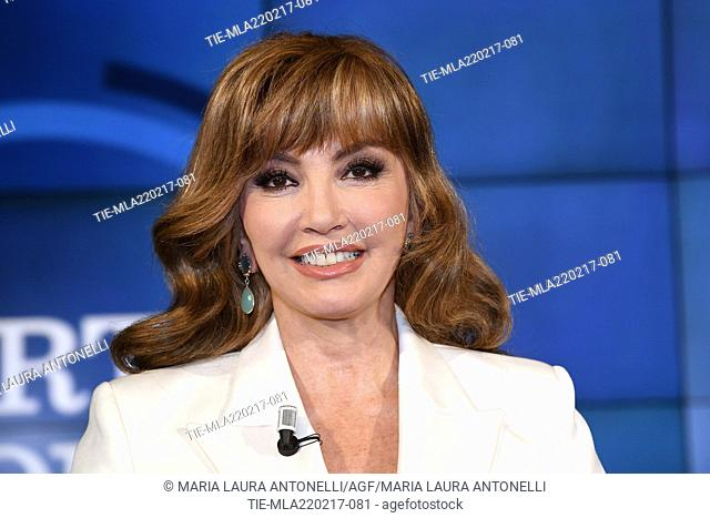Host Milly Carlucci during the tv show Porta a porta, Rome, ITALY-21-02-2017