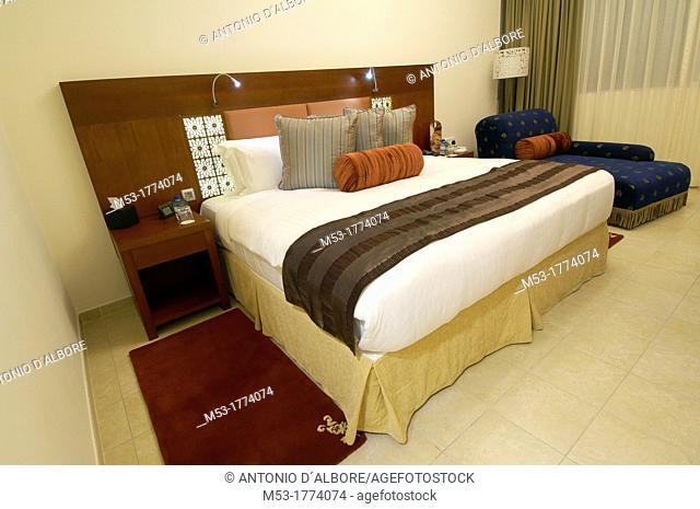 master bedroom of a modern arab luxury suite hotel  dubai  united arab emirates  middle east