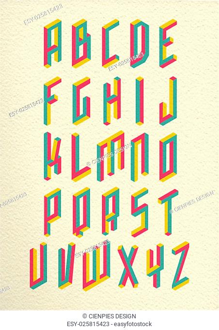 Colorful retro isometric 3d impossible shapes type font set whit vintage paper background illustration. EPS10 vector file