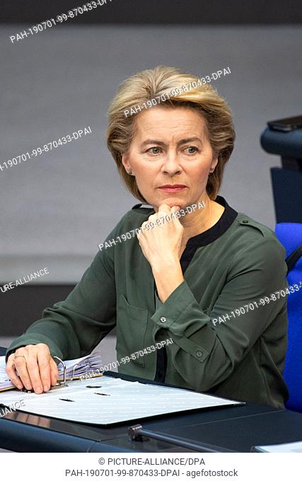 28 June 2019, Berlin: Ursula von der Leyen (CDU), Federal Minister of Defence, attends the session of the Bundestag. Topics of the 108th session of the...